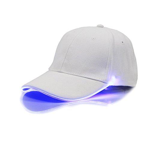 LED-beleuchtet Baseballkappe, Cuitan Batteriebetrieben Schildmütze Einstellbarer Blitz Hüte Leuchtende Käppi für Party-Mütze Leiste Hip Hop Camping Lauf Sport Angeln Jagd Blinkt Basecap, Weiß(Blau Licht) (Mesh-jagd Handschuhe)