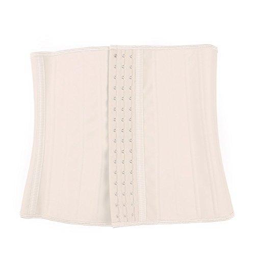 Feelingirl Corsetto da donna in lattice, con 9 stecchein acciaio, contenitivo, traspirante Begie-3 rows of hooks