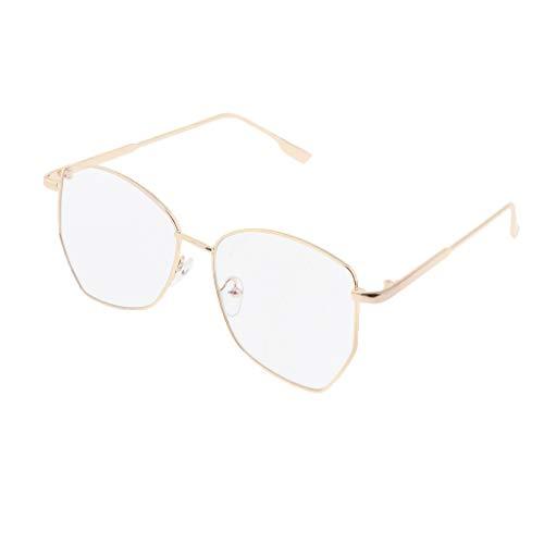 IPOTCH Polygon Metall Klare Linse Rahmen Brillenfassung - Golden