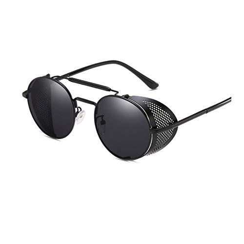 smile-coco Retro Runde Steampunk Sonnenbrille, für Herren und Damen, Seitenschutz, Metallrahmen, Gothic Spiegelglas Gr. Einheitsgröße, Black Black