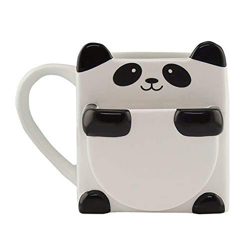 feeilty Panda-Kaffeetasse Mit Keks Standplatz-Halter Keramik Cups Panda Kaffeetasse Home Office Heiße Getränke Cup Weihnachtsgeschenk Küche Netter