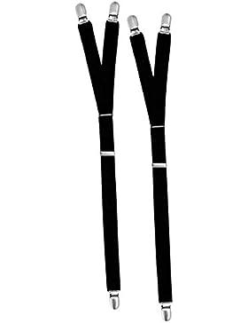 iLoveCos Y-Style Shirt Stays Adjustable Tirantes para Hombre con Anti-Arruga No Slip Clip (Negro)