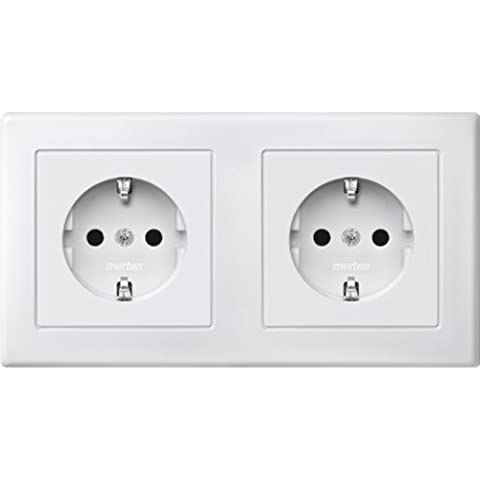 Merten MEG2328 1519 Shuko Dual Double Plug Socket, Brs, Plug-In Terminals, Polar White, M-SMART