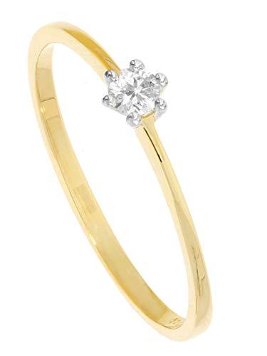 MyGold Damen Verlobungsring Weißgold Gelbgold 585 Gold (14 Karat) Bicolor Mit Brillant 0,10ct. Solitärring Gr. 48 Diamantring Heiratsantrag Diamond Love R-00974-G461-DIA04S/H/S2-0,10ct-W48