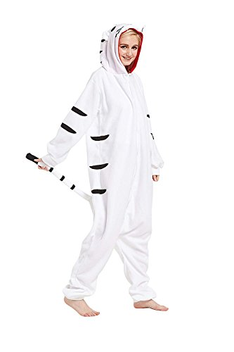 Power Kostüm Ranger Einfach - URVIP Erwachsene Unisex Jumpsuit Tier Cartoon Fasching Halloween Pyjama Kostüm Onesie Fleece-Overall Schlafanzug Weiß Tiger Medium