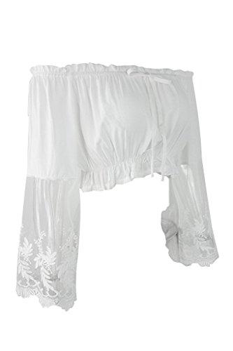 Simplee Apparel Damen Blusen Elegent Chiffon Langarm Schulterfrei Shirt Oberteille Kurz Blusen mit Spitze Weiß Weiß