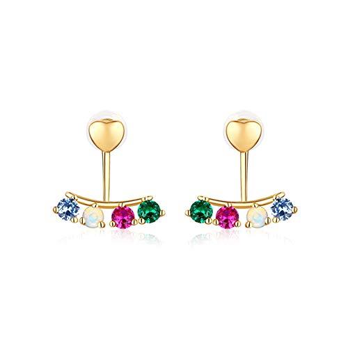 @Y.T 9 Karat Gold Ohrringe Frau natürlichen Opal Stein Ohrstecker rot blau grün Mädchen Ohrring -