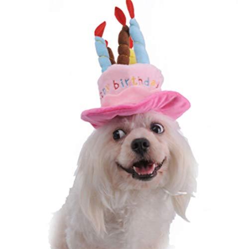 Flybloom Haustier Geburtstag Hut Cute Dog Geburtstag Hut Mit Kuchen Kerzen Stil Für Katzen und Welpen Party Kostüm Zubehör ()
