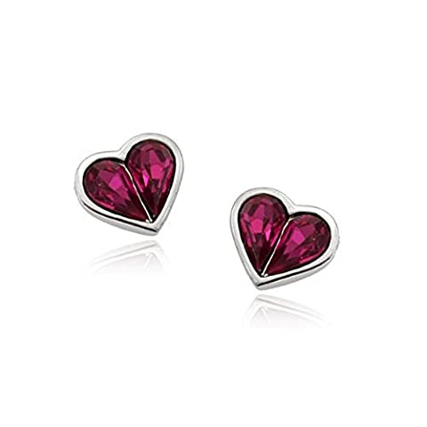 Virtuous Earrings With Swarovski Amethyst Crystal in 18ct White Gold Finish