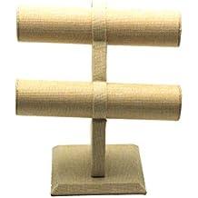 Ruby Expositor pulsera 2 pisos con acabados en cuerda tipo esparto color beis para Pulseras, collares y bisutería