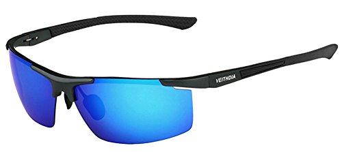 Da uomo Sport occhiali da sole polarizzati UV400Protezione per ciclismo corsa guida Caccia Pesca Golf, Blue