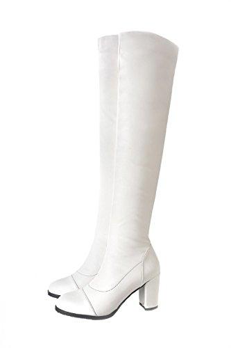 VogueZone009 Donna Punta Tonda Tacco Medio Alta Altezza Puro Stivali Bianco