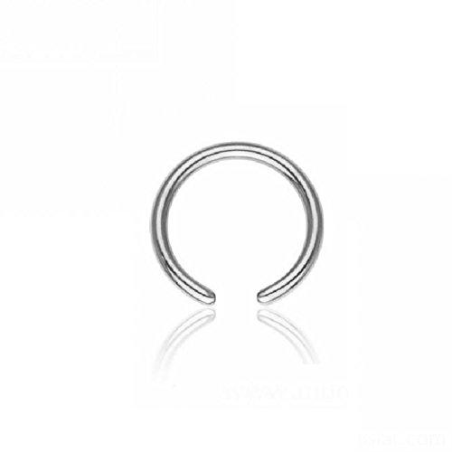 Stahl - BCR Klemmring - ohne Kugel (Piercing Ball Closure Ring für u.a. Brustwarzen-, Nasen-, Septum- und Ohrpiercings silber) 1,6 mm | 7 mm