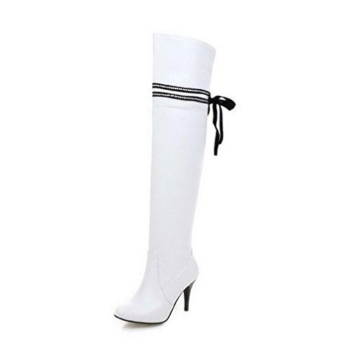 Botas Salto Strass Colocado O Cravejado Com Com Toe Agoolar Branco De Rodada Zíper Alto Mulheres q04BtgH
