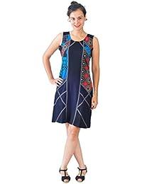 Robe de soirée sans manches Ladies avec motif multicolore et Patch