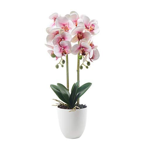 Alicemall Kunstpflanze Künstliche Orchidee Phalaenopsis im Topf aus Keramik 56 cm Pink