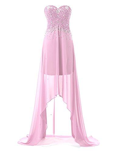Sarahbridal Damen High-Low Perlen Strasssteine Chiffon Schatz Hals Abendkleider SSD080 Rosa