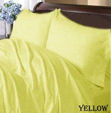 Dreamz Bedding- Fadenzahl 400 30 Zoll tiefe Tasche befestigt Wasserbett Bettlaken-Set (4 Stück), Gelb gestreift 100% ägyptische Baumwolle