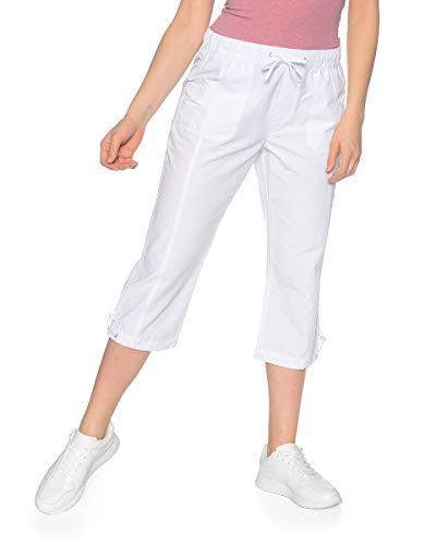 Malva by Adler Mode Damen 3/4 Hose mit Tunnelzug am Saum - Sommerhose, Kurze Hose, Dreiviertel-Hose, Bermudashorts - auch in Kurzgrößen erhältlich Weiß 48 -