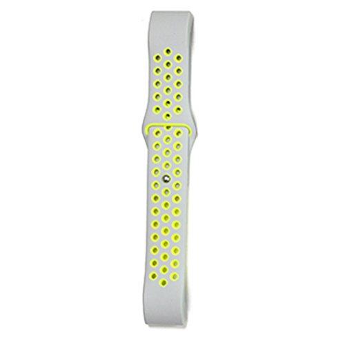 Providethebest Dual-Farben-Armband-Ineinander Greifen Sport-B¨¹Gel-Silikon-Ersatzgummi Blacelet-Ketten-Uhr-Gurt f¨¹r Fitbit Sch¨¹ttung 2 Silber + Gelb