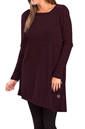 Yidarton Pull Robe Femme Hiver Col V Casual Manche Longue Mini Robes Tunique (Wine, XXL)
