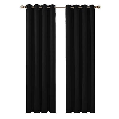 Deconovo Cortinas Opacas Térmica Aislante con Ojales Juego de 2 Piezas 140 x 260 cm Negro