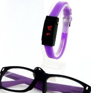 LED DAMENUHR + passender Nerd Brille Fashion Set LILA