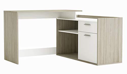 Mesa Escritorio de rincón para Estudio, Oficina o despacho con cajón Armario y 2 Compartimentos Abiertos Color Roble y Blanco 115x77 cm