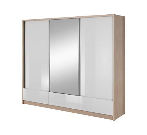 mb-moebel Moderne Schlafzimmer Möbel Eckschrank Kleiderschrank mit Schiebetüren Schubfächern und Spiegel Riana Glanz (Sonoma/Weiss Glanz, 250 cm)