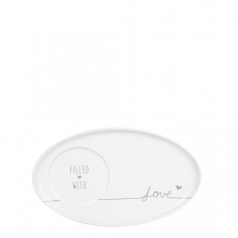 Espresso Teller Filled with Love weiß/grau oval 17x10cm