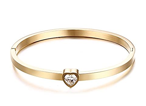 Vnox Womens Girls Stainless Steel Heart CZ Diamond Gold Thin Bangle Bracelet High Polish Gold 58mm