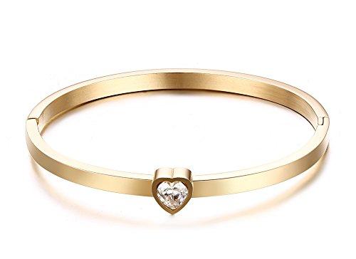 Vnox Delle ragazze delle donne a forma di cuore zirconi Bracciale in acciaio inox Bracciale,Oro,Larghezza 4 millimetri