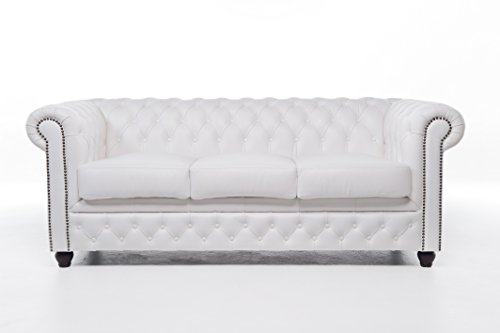 Original Chesterfield Sofas und Sessel – 1 / 1 / 2 / 3 Sitzer – Vollständig Handgewaschenes Leder – Weiß