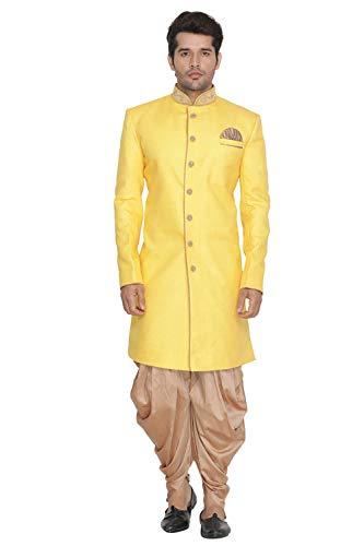 031c4bae9c Vastramay Men Yellow Jute Cotton Sherwani and Cow Style Dhoti Pant set  (VASMIW003YWnCDRG_44)