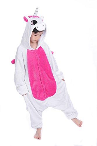 Tuopuda Kinder Kigurumi Pyjamas Tier Schlafanzug Jumpsuit Nachtwäsche Unisex Cosplay Kostüm für Mädchen und Jungen Halloween Karneval Fasching (XXL = 130 - 140 cm height, Rosa (Kostüme Kinder Für Jungen Halloween)