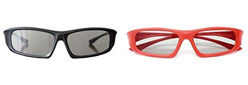 2 Paare von passiven Erwachsenen 3D Brille 1 schwarz und 1 rot Universal in einem umlaufenden Stil für alle passiven TV Kino und Projektoren wie RealD Toshiba LG Panasonic und vieles mehr