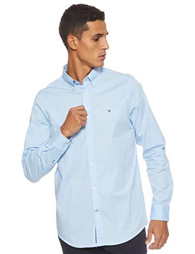 Tommy Hilfiger Herren CORE Stretch Slim POPLIN Shirt Freizeithemd, Blau Blue 474, Medium (Herstellergröße: MD)