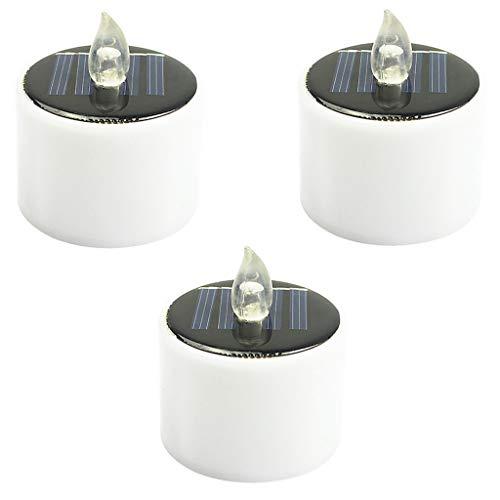 LED Kerzen 3 Stück Solar Kerzen Außen Interior Solar Teelichter Wasserdicht Flammenlose Kerzen Solarleuchte Teelichter Nachtlicht für Partei Hochzeit Festival Dekoration (Weiß)