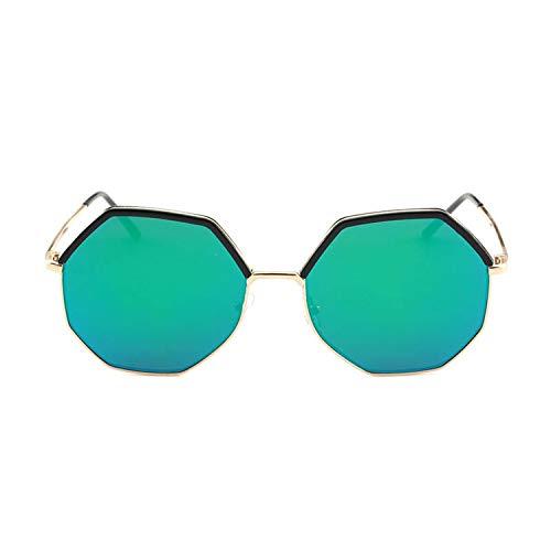 BENatural-UK Sonnenbrille Polygon-Metall, runder Rahmen, bunte Folie, Spiegel, UV400, Unisex, Übergröße, C3