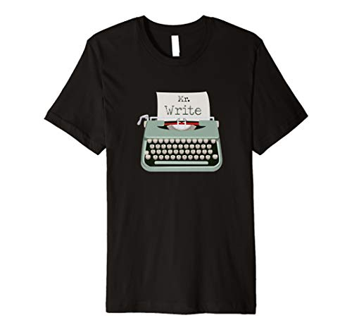 Funny Mr. Write Typewriter Tshirt for Men, choice of colours