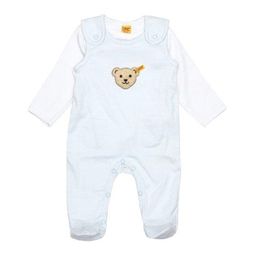 Steiff Unisex - Baby Strampler, gestreift 0006605, Gr. 56, Blau (3023)