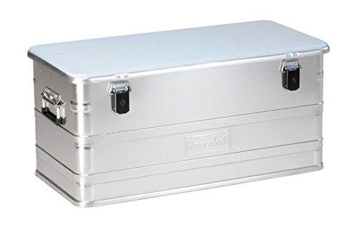 hünersdorff PROFI Aluminium-Box 91 Liter, spritzwassergeschützt, mit Gummi-Dichtung, leicht, stabil, Klapphandgriffe, Vorbereitung für Schlösser, Farbe: silber