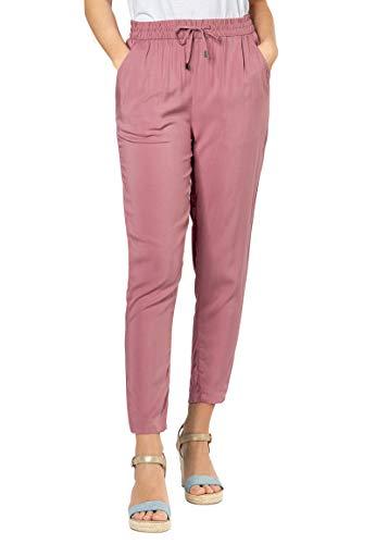 Sublevel Damen Stoffhose mit Bindegürtel aus Viskose Dark-Rose XL