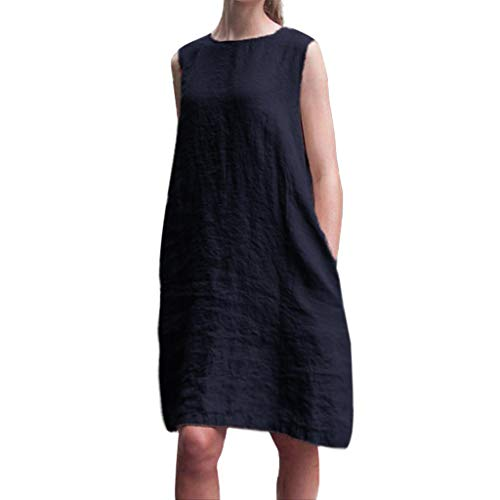 Wawer Damen kurzes Hülsen-Oansatz Kleider Elegant Baumwolle Leinen Leinenkleid Sommerkleider, Ärmellos Lose Kleid Baumwolle beiläufiges Boho Maxi Strand-Kleid -