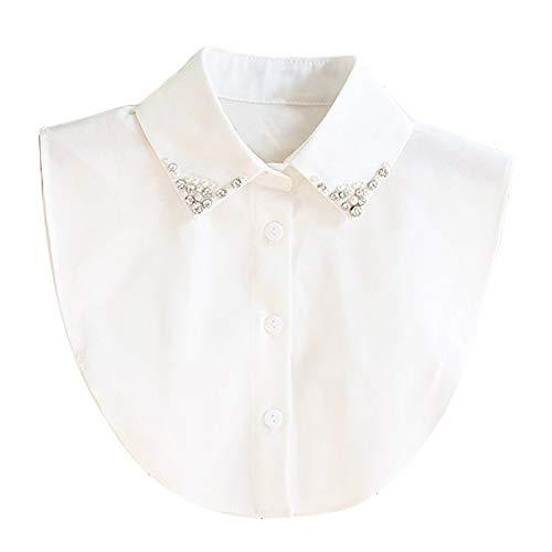 Collar Falso Camisa Desmontable Mujer Cuello Media Camisa Blusa Elegante (Blanca)