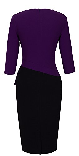 HOMEYEE femmes Elégant V-cou Patchwork manches affaires Robe B333 Violet + Noir