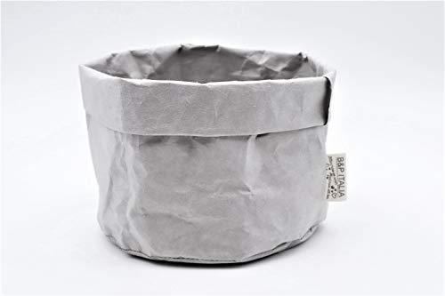 B&P Italia Stockholm - Bolsa para Pan, Fibra de celulosa, Gris, diámetro 19 x 12 cm