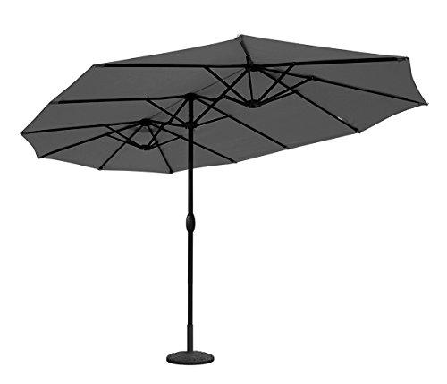 Sekey 4.6m x 2.7m Aluminium Parasol avec Deux Hauts pour Patio Jardin Balcon Piscine Plage Sunscreen UV50+ Gris