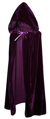 Crizcape Kinder Kostüm-Umhang aus Samt, Cape, Umhang mit Kapuze, ideal für Halloween-Partys, Alter: 2-18 Jahre - violett - L/Alter 8-18