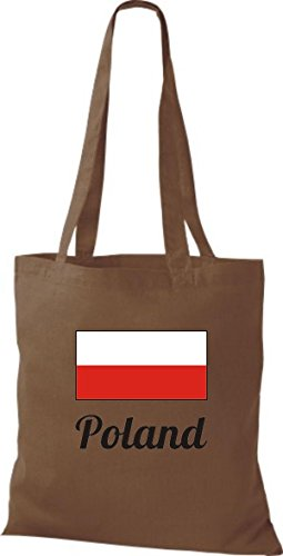 ShirtInStyle Stoffbeutel Baumwolltasche Länderjute Poland Polen Farbe Pink mittelbraun